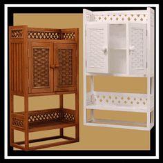 Cottage Wicker Wall Cabinet Shelf via @wickerparadise #bathroom #wicker #wall www.wickerparadise.com