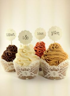 Sweet & Simple Pearl Cupcake toppers  - Sweet, Yum, I do, Love - Wedding, Bridal Shower  or custom birthday, tea party , etc.. $10.00, via Etsy.