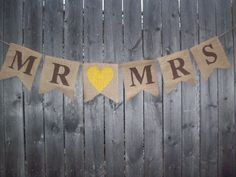 CUSTOM MADE Rustic Burlap Mr and Mrs Yellow Brown Banner Photo Prop Bunting Sign Garland for Country Chic Wedding on Etsy, $18.00