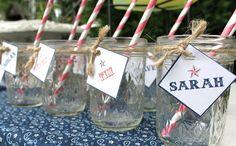 Cute bbq ideas and printables name tags, masons, idea, names, drink, summer bbq, backyard bbq, mason jars, parti