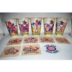 Budweiser Beer Bud Man 7 Coasters 5 Paper Cups worthpoint.com