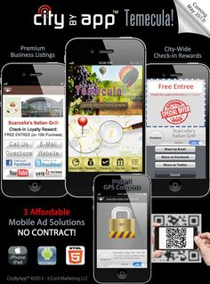 Here's a new project we recently developed for my hometown of Temecula, CA. CityByApp® is expanding throughout Southern California and beyond... Imagine the benefit of having any aspect of your city now in a mobile app on your smartphone. ;)