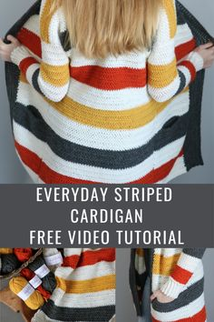 Everyday Striped Cardigan - MJ's off the Hook Designs