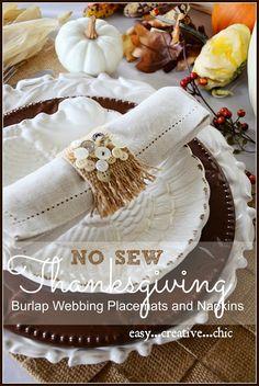 NO SEW BURLAP PLACEMAT AND NAPKIN DIY. Perfect for Thanksgiving stonegableblog.com