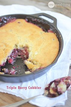 Triple-Berry Skillet Cobbler {Gluten Free} - One Good Thing by Jillee