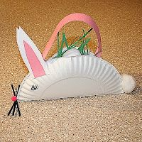 bunny basket craft with paper plate & pink construction paper.