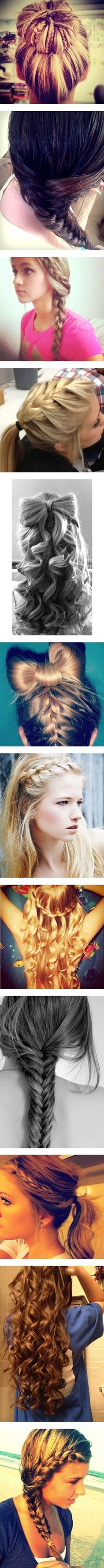 french braids, inspiration, long hair, curls, bows