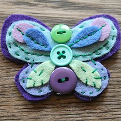 Stitch up these adorable butterflies--great for little girl's hair or accessories.