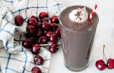 This Black Forest Protein Shake looks and tastes like dessert in a glass, but it's packed with protein and nutrients from bananas and cherries.