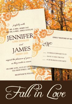 Customizable Fall Wedding Invitations created by Colourful Designs Inc. Change the orange color writing to teal or purple.