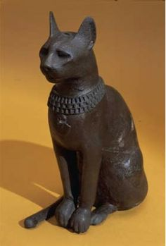 Bronze cat statuette Ancient Egypt.