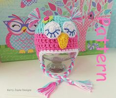 TWIT TWOO!!! BABY CROCHET OWL HAT Pattern by KerryJayneDesigns, £2.45