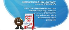 Enter the SweepstakesLovers.com National Donut Day Giveaway presented by Entenmann's for a chance to win a National Donut Day prize pack !