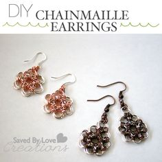 maill earring, earring tutori, chain maill, chain flower, chainmaill