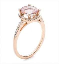 Morganite and Diamond Halo engagement ring. Ring Design: Joseph Jewelry ---> http://www.weddingchicks.com/2014/05/20/engagement-rings/