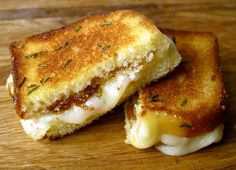 grilled cheese made with pound cake, brie, butter, fig spread, and rosemary
