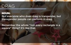 """""""Noun: Not everyone who does drag is transgender, but transgender people can perform in drag. Remember the whole """"not every rectangle is a square"""" thing? It's like that.""""  [click on this link to find a short video featuring three drag queens in a music video scripted to call attention to Chick-fil-A for it's financial support of anti-gay groups: http://www.thesociologicalcinema.com/1/post/2012/05/chow-down-at-chik-fil-a.html]"""
