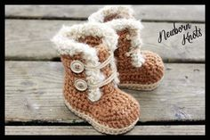 #crochet baby booties pattern sold by Newborn Knots