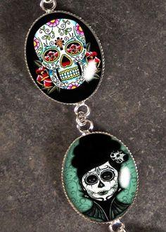 Dia De Los Muertos Silver Charm Bracelet