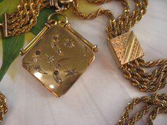 Victorian Watch Chain Moon & Stars Fob Locket from inspiredbynanny on Ruby Lane