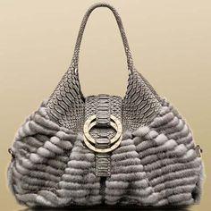 Bulgari Chandra metallic grey mink steel grey soft matt python shoulder bag