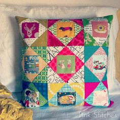 Pink Stitches: Square in Square Pillow