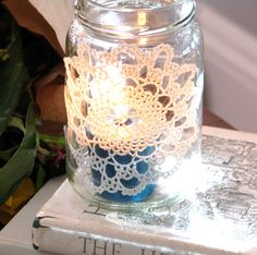 diy candle holder...the lace