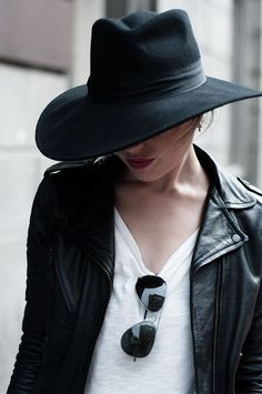 hats, models off duty, fashion, outfit, black white, leather jackets, sunglasses, city style, fedora