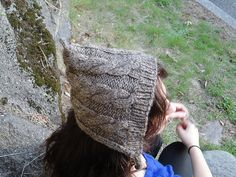 Evergreen Pixie Hat with Cables by Elizabeth Karman