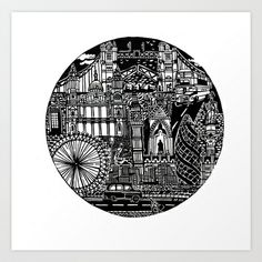 London Art Print by Libby Walker - $18.00