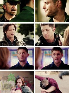 [gifset] Three times Holy water had no effect on Dean and the one time it really did-Not going to lie, this hurt.....4x01 Lazarus Rising, 5x02 Good GodY'all, 9x11 First Born,10x02 Reichenbach #SPN #Dean #DemonDean