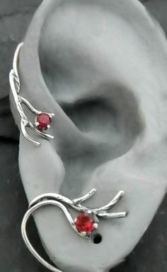 Sterling Berry and Branch  Ear Wrap