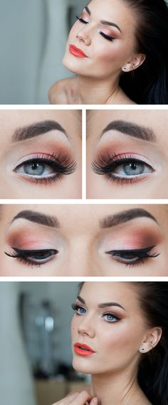 Glowing fresh graduation summer makeup look. White orange and tan eyeshadow, bright orange red lipstick, really brightens the face, and this look could actually work for fall/autumn also, or even spring. By makeup artist Linda Hallberg.