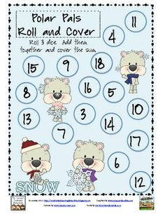 This math game practices adding three numbers together.Directions:  Roll 3 dice.  Add the numbers together.  Cover the sum on the game board....