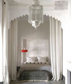 Moroccan decor in Elle Decor Jan / Feb 2014 {moroccan lantern & pom-pom blankets} interior, moroccan bedroom