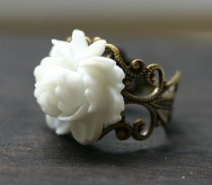 Love this ring!!    Victorian Purity White Rose Cocktail Ring by robinhoodcouture, $18.00