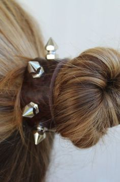 Leather & Silver Studs Hair Cuff