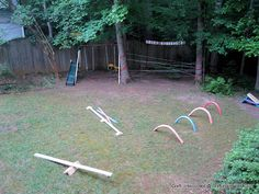 Ninja obstacle course; the balance beam (lower left) can also be used for balance beam samurai sword fights - whoever steps off first loses.