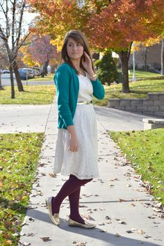 lace dress, cardigan, tights