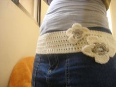 crochet belt with flowers