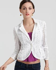 Nanette Lepore Acrobat Lace Jacket in Cloud