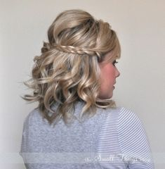 @Hollie North  Don't kill me, but I just cut my hair about this length. I think this style might be doable? short hair, shorter hair, bridesmaid hair, braid, prom hair, curl, wedding hairs, beauti, hairstyl
