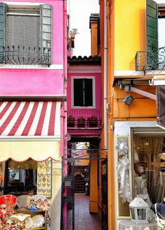 Burano, Italy - a wonderful little island off the coast of Venice is famous for lace and colorful buildings