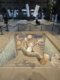 Julian Beever. Amazing 3D sidewalk art