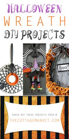 Halloween Wreath DIY Projects - The Cottage Market #Halloween, #HalloweenWreathDIYProjects, #HalloweenWreathProjects, #HalloweenWreathDIYCollection, #HalloweenCrafts