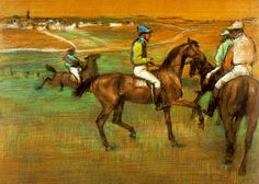 Edgar Degas - The Race Horses  Degas was a French artist famous for his work in painting, sculpture, printmaking and drawing. He is regarded as one of the founders of Impressionism.