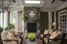 outdoor room, fireplace, mirror