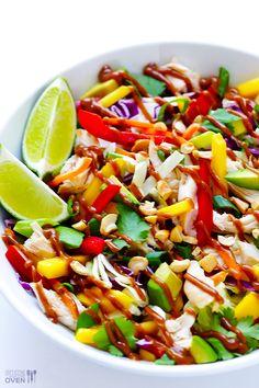 Rainbow Thai Chicken Salad | gimmesomeoven.com #glutenfree