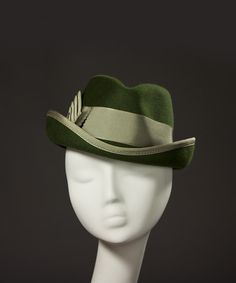 "Gorgeous ""Drake"" fedora from House of Nines Design. Beautiful handcrafted millinery. I'm a big fan of this green color combo."
