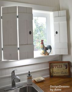 Indoor Shutters, functioning, made from planks for under $10 and such a cute idea for a country kitchen